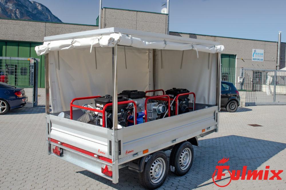 rimorchio trasporto di idrovore protezione civile