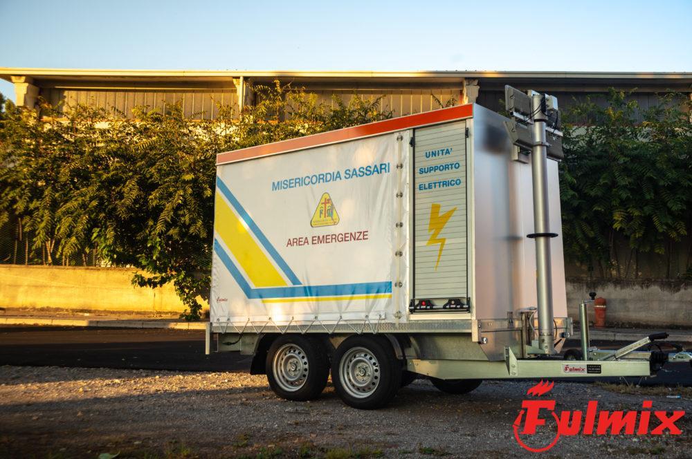 rimorchio generatore di corrente silenziato protezione civile