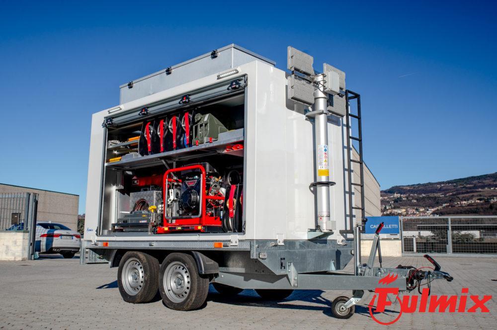 rimorchio idrogeologico protezione civile generatore torre fari led